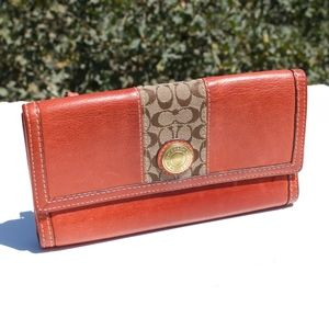 Coach Trifold Orange Leather Signature Wallet